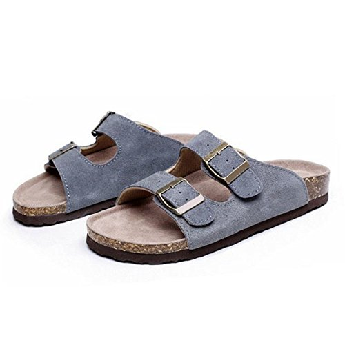 Solid Nubuck Cork Sandals ZHOUZJ Beige Casual Buckle Summer Double Slippers Beach pZUw0Uqz