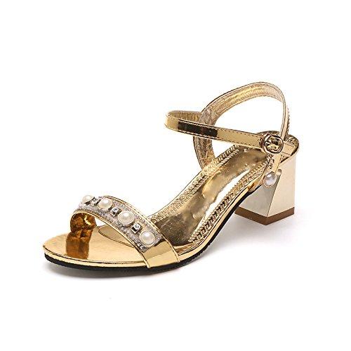 Hebilla De Trasera Perlas Toe Cristal De Mujer Open De Y Zapatos Frontal Sandalias Sandalias Correa De Oro Womens Correa JUWOJIA wIqyv4OWFZ