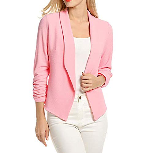 AgrinTol Women 3/4 Sleeve Blazer Open Front Short Cardigan Suit Jacket Work Office Coat Pink ()