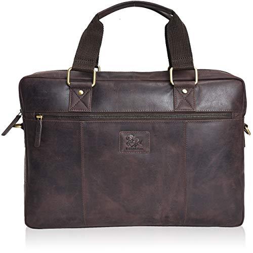 Laptop Leather Messenger Bag for Men - Premium Office Briefcase 15