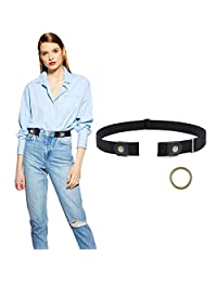 Buckle Free Women Stretch Belt Plus Size No Buckle Belt for Jeans Pants Dresses, Suit for Pants Size 35-50 Inches, A-Black-Bronze Color Snap