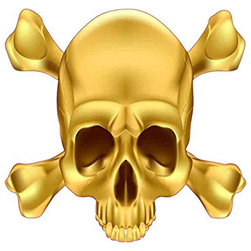 - Gold Skull and Crossbones Vinyl Vehicle - Sticker Graphic - Auto, Wall, Laptop, Cell, Truck Sticker for Windows, Cars, Trucks