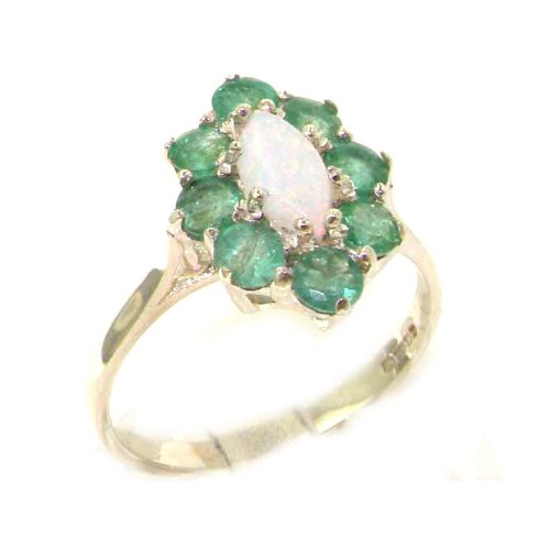 LetsBuyGold 14k White Gold Real Genuine Opal and Emerald Womens Promise Ring - Size 9