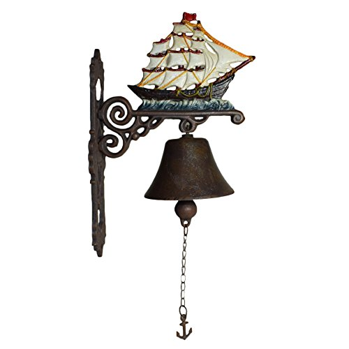 AB Tools Ship Sail Boat Pirate Galleon Bell Gate Cast Iron Sign Plaque Door Wall House