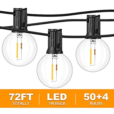 2-Pack 36FT LED G40 String Lights with 54 Dimmable Clear Globe Vintage Edison Bulbs, Waterproof Outdoor Indoor Cafe Light for Patio Garden Backyard Bistro Pergola Tents Gazebo Decor, Black Wire 72FT