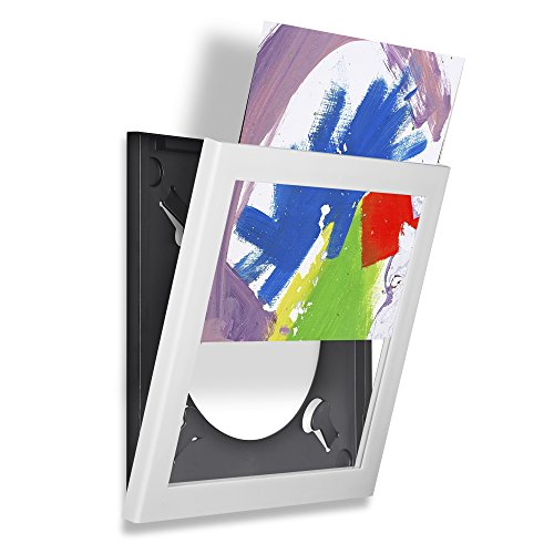 Pinnacle Frames and Accents Show & Listen Album Cover Display Frame, Flip Frame Displays Vinyl Records, 12.5x12.5, White