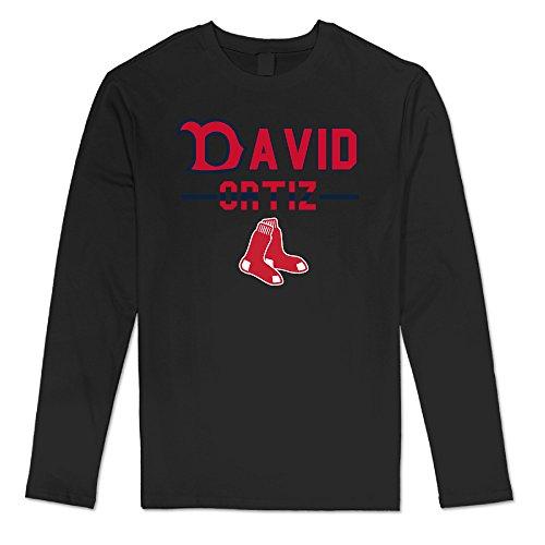 AUSIN Men's Boston David #34 Ortiz Baseball Casual Long Sleeve Tee Black XXL