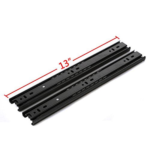 GLE2016 A Pair of Black Metal Quiet Ball Bearing Full Extension 3 Section Drawer Slide, Side Mount (32.5cm/13 Inch)