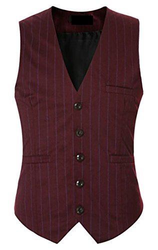 V Jacket Blazer today Waistcoat Vest Red Mens UK Neck Stripe Cqxq1XYEBw