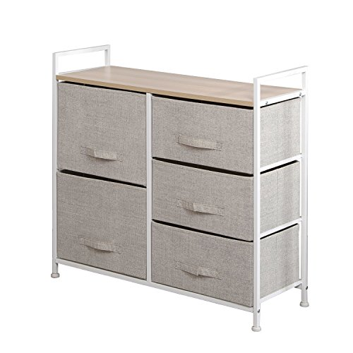 (soges 5-Drawer Storage Organizer Unit for Bedroom, Play Room, Closets, Entryway, Free Standing Rack, Metal Frame with Fabric Bin, Beige)
