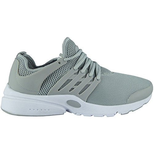 Loud Look Womens Ladies Running Trainers Lace Up Flat Comfy Fitness Gym Sports Shoes Size 3-8 Grey L9Adxox