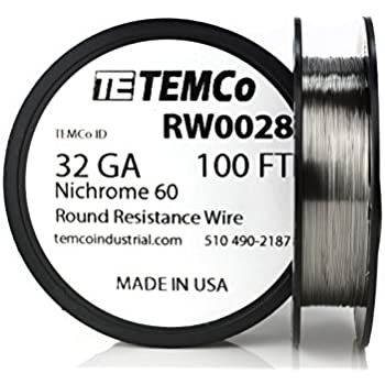 TEMCo Nichrome 60 series wire 30 Gauge 100 Ft Resistance AWG ga ...