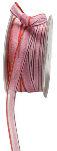 May Arts 1/2-Inch Wide Ribbon, Pink and Brown Stripes ()