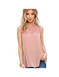 DaySeventh Women Chiffon Lace Sleeveless Shirt Blouse Comfort Tank Tops
