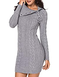 Women Casual Sleeve Button Crewneck Cable Knit Sweater Pullover Bodycon Dress Tops S-L