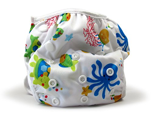 Nageuret Reusable Swim Diaper, Adjustable & Stylish Fits Diaper Sizes N-5 (8-36lbs) Ultra Premium Quality For Eco-Friendly Baby Shower Gifts & Swimming Lessons (Sea Creatures)