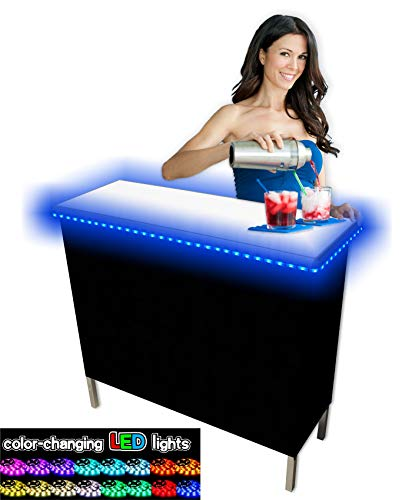 PartyPongTables.com Portable Folding Party Bar w/ LED Lights (Black & Hawaiian Bar Skirts) - Single Set