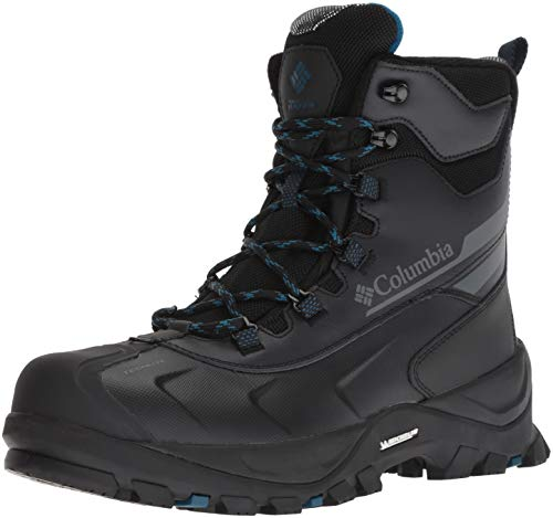 Columbia Men's Bugaboot Plus IV Omni-Heat Wide Mid Calf Boot, Black, Phoenix Blue, 8.5 Wide US