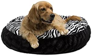 Legitimutt Zebra Embossed Dog Cuddle Bed, Small, Black