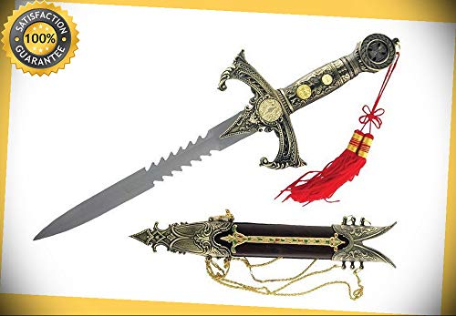 15'' Medieval Knights Templar Crusader Dagger Short Sword with Scabbard Brand New perfect for cosplay outdoor camping