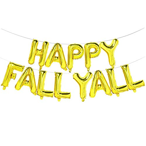 Happy Fall Yall Balloons Gold | Happy Fall Yall Banner Sign | Fall Party Balloons | Thanksgiving Party Decorations, 16inch Tall …