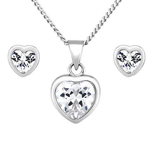 KURZE LIEFERZEIT - Day at Lisyett - Halskette Damen im Schmuck Set mit passenden funkelnden Silber Ohrringen aus rhodiniertem 925 Sterling Silber, für die besondere Frau