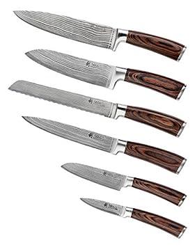 6er Damastmesser Set, Japanischer Stahl VG-10,Wakoli Edib, 6Teilig Damastmesser Küchenmesser, Kochmesser