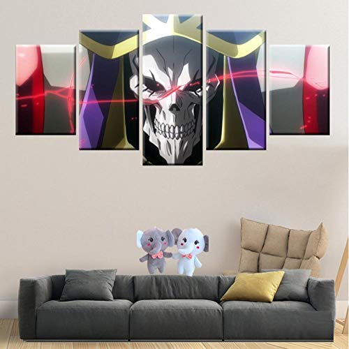 (HNFSSK Canvas Painting 5 Panel Hd Printing Module Canvas Painting Home Decoration Children's Room Wall Art Anime Poster Undead King-SIZE3)