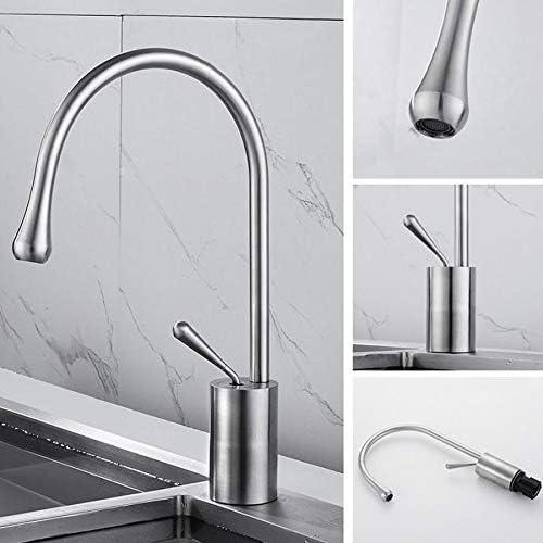 デュアルユース台所の蛇口は、304ステンレス鋼の水のミキサー蛇口温水と冷水のミキサーのタップ旋回台はシンク用クレーンをマウント (Color : Silver)