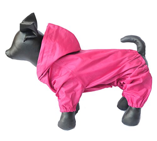 Pet Clothing Small Large Dog Rain Coat Waterproof Nylon 4 Legs Pet Raincoat Hoodie Perfect For Small Middle Large Size Dogs Breed Female Male Dog Rain Coat Outdoor Outerwear DRC-Lsgm (L-M, Magenta) by lovelonglong
