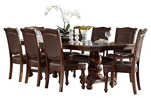 Licona Traditional 9PC Dining Set Double Pedestal Table, 2 Arm Chair, 6 Side Chair in Brown Cherry