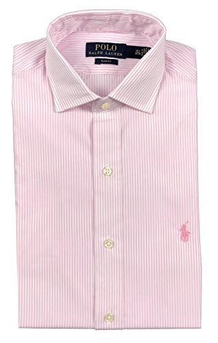 Split Striped Polo Shirt - Ralph Lauren Polo Mens Spread Collar Pony Logo Striped Dress Shirt Pink/White (16 34/35)