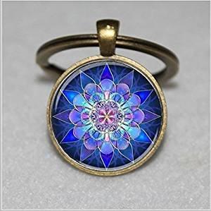Llavero Mandala, llavero de mandala, mandala azul, llavero ...