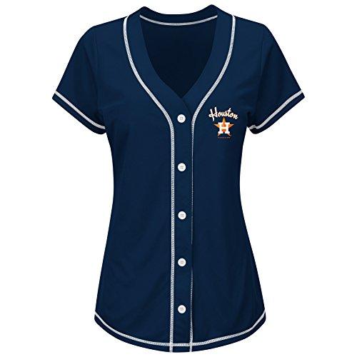 MLB Houston Astros Women's T4L Fashion Tops, Navy/White, Small (Houston Astros Apparel)