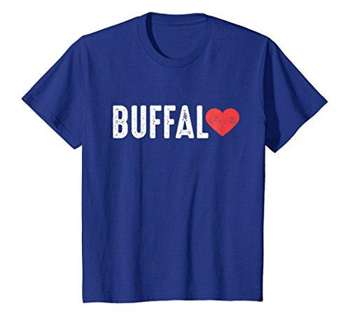 Price comparison product image Kids Buffalo Heart, Buffalo Love Distressed Vintage Graphic Tee 8 Royal Blue