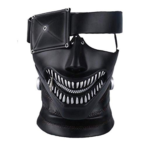 HitHopKing 3D Mask Japan Anime Cosplay Mask Tokyo Ghoul Mask,with Adjustable Zipper (PVC Mask) Black -