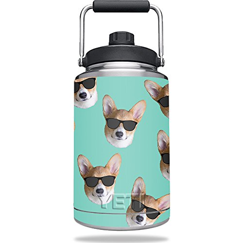 Skin For Yeti Rambler One Gallon Jug – Cool Corgi | MightySkins Protective, Durable, and Unique Vinyl Decal wrap cover | Easy To Apply, Remove, and Change Styles | Made - Sunglasses Rambler