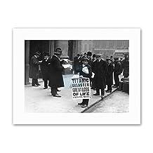 BLACK WHITE HISTORICAL TITANIC DISASTER SINKS NEWS BOY SIGN Poster Canvas art