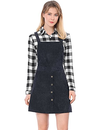 Allegra K Women's Straps Button Decor A-line Pinafore Corduroy Overall Dress Blue L (US -