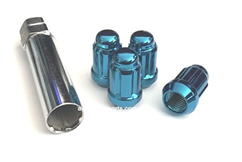 12x1.5 Spline Tuner Lug Nuts Wheel Locks (4 Lugs & 1 Key Included) (12mmx1.50 Thread Size) (Blue) (Blue 12mm Wheel)