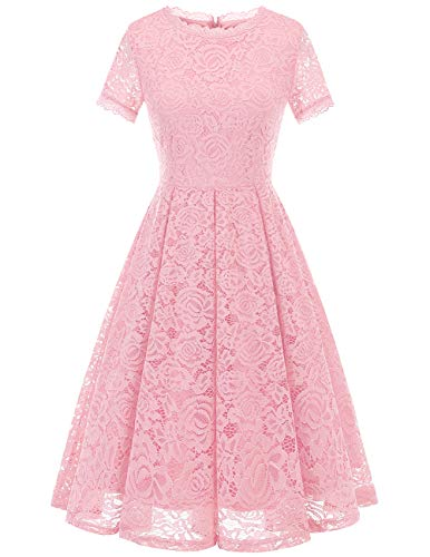 DRESSTELLS Women's Bridesmaid Vintage Tea Dress Floral Lace Cocktail Formal Swing Dress Pink L