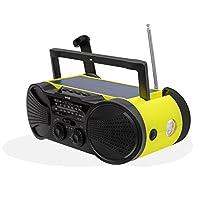 Emergency Weather Radio 4000mAh - Portable, Solar Powered, Hand Crank, AM FM NOAA Weather Stations, USB Cell Phone Charger, SOS Alarm, LED Flashlight & Reading Light - Buzz4000