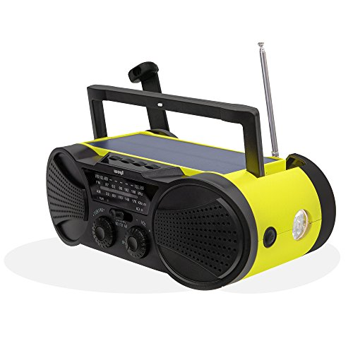 Emergency Weather Radio 4000mAh - Portable, Solar Powered, Hand Crank, AM FM NOAA Weather Stations, USB Cell Phone Charger, SOS Alarm, LED Flashlight & Reading Light Radio - - Phone Charger Radio Crank Cell