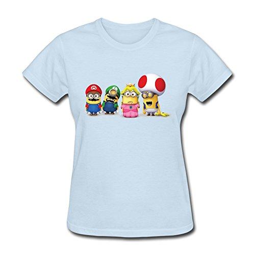 HUBA Women's T-shirt Super Mario Bros 3 Minions 3 SkyBlue Size L