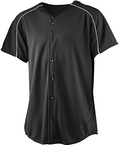 Augusta 582A Wicking Button Front Baseball Jersey, Black & White - Extra Large by Augusta Sportswear