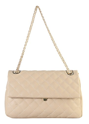 Diophy PU Leather Medium Quilted Crossbody Handbag with Chain Strap ZU-2690 (Quilted Zipper Handbag Top)