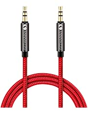 linkinperk AUX Cable 3,5mm nailon Cable de audio macho a macho Cable AUX Cable auxiliar para estéreo de coches, iPod, , Beats, ordenador, MP3 jugadores y más(1M)