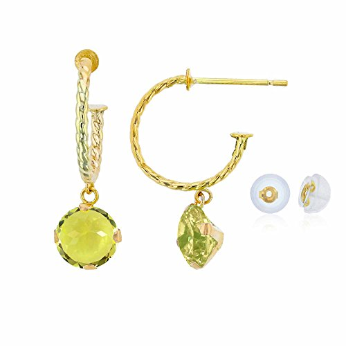 - 10K Yellow Gold 12mm Rope Half-Hoop with 6mm Round Lemon Quartz Martini Drop Earring with Silicone Back