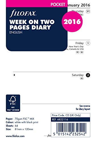 Filofax 2016 Week On Two Pages Format English Pocket Diary