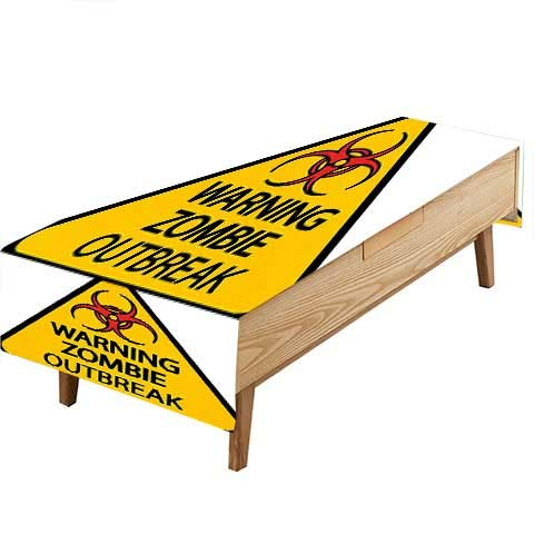 (PINAFORE Waterproof SpillProof Tablecloth Zombie Warning Zombie Outbreak Sign Cemetery Infection Halloween Graphic Earth Hotel Parties Out Dinners W60 x L84)